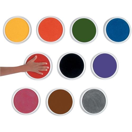 "Center Enterprises Ready2Learn Jumbo Washable Stamp Pad Classroom Kit - 10 / Set - 6"" (152.40 mm) Diameter - Yellow, Orange, Green, Blue, Red, Black, Purple, Pink, Black, Brown, Silver Ink"
