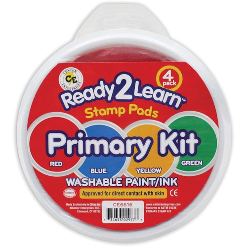 """Center Enterprises Ready2Learn Jumbo Washable Stamp Pad Primary Kit - 4 Set - 6"""" (152.40 mm) Diameter - Red, Yellow, Blue, Green Ink"""