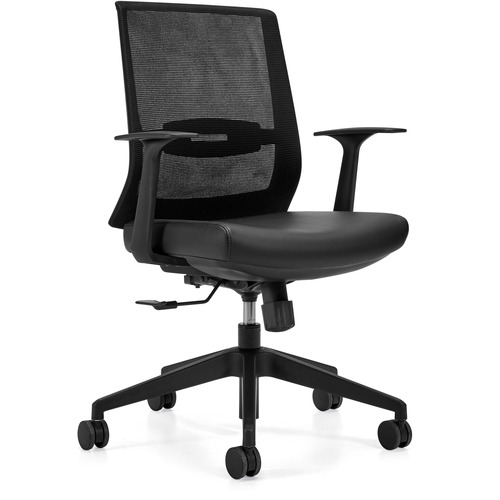 Offices To Go OTG13071 Executive Chair - Black Luxhide, Bonded Leather Seat - Black Mesh Back - High Back - Yes - 1 Each