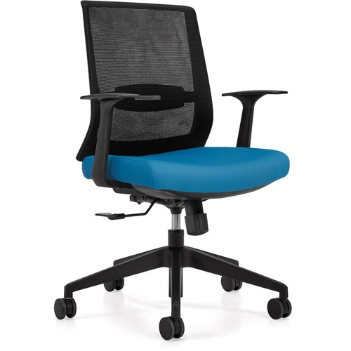 Offices To Go OTG13071 Executive Chair - Sky Luxhide, Bonded Leather Seat - Sky Mesh Back - High Back - Yes - 1 Each
