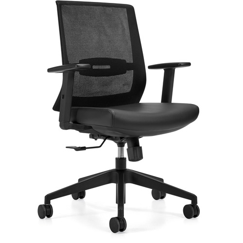 Offices To Go OTG13072 Executive Chair - Black Luxhide, Bonded Leather Seat - Black Mesh Back - High Back - Yes - 1 Each