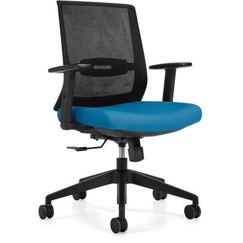 Offices To Go OTG13072 Executive Chair - Sky Luxhide, Bonded Leather Seat - Sky Mesh Back - High Back - Yes - 1 Each