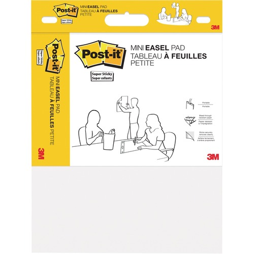 Post-it® Super Sticky Easel Pad - 20 Sheets - White Paper - Resist Bleed-through, Self-stick, Portable - 1Pad