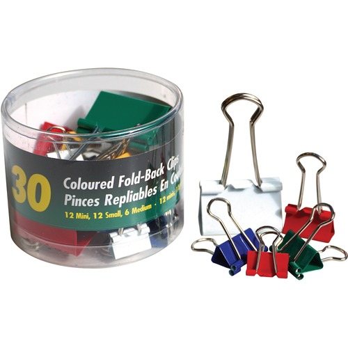 OP Brand Foldback Clip - Assorted Sizes - for Paper - Foldable, Strong, Storage Tub - 30 / Pack - Assorted - Metal