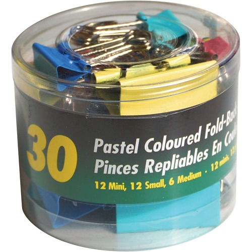 OP Brand Foldback Clip - Assorted Sizes - for Paper - Foldable, Strong, Storage Tub - 30 / Pack - Pastel - Metal