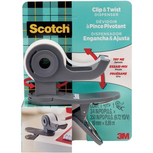Scotch Clip & Twist Desktop Tape Dispenser - Refillable - Clip, Easy to Use, Portable, Rotate - Black - 1