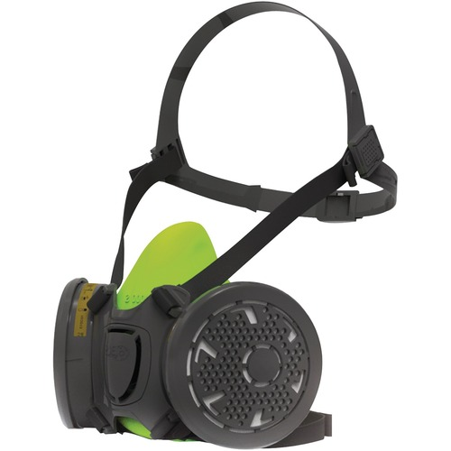 RONCO BLS 4000 Series Half Mask - Quick Drying, Ergonomic Design, Comfortable, Filter, Adjustable Harness - Large Size - Gases, Vapor, Dust, Mist Protection - Silicone Face Seal - 8 / Case