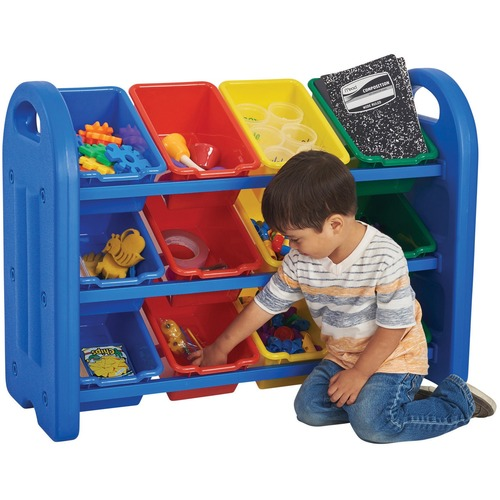 """ECR4KIDS 3-Tier Storage Organizer With Bins, Blue - 12 Compartment(s) - 3 Tier(s) - Compartment Size 5.25"""" (133.35 mm) x 12"""" (304.80 mm) x 8.25"""" (209.55 mm) - 27.5"""" Height x 37.5"""" Width x 14"""" Depth - Blue - Steel, Plastic - 1 Each"""