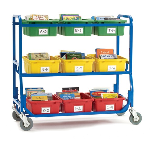 """Copernicus Library on Wheels - 9 Compartment(s) - Compartment Size 6"""" (152.40 mm) x 12.50"""" (317.50 mm) x 15.75"""" (400.05 mm) - 40"""" Height x 51"""" Width x 18"""" Depth - Floor - 1 Each"""