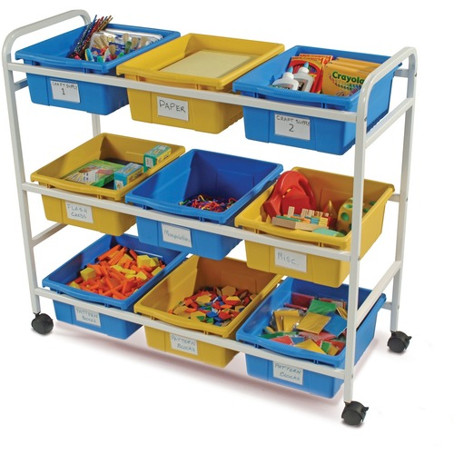 """Copernicus Multi-Purpose Cart with Blue & Yellow Tubs - 9 Compartment(s) - Compartment Size 12"""" (304.80 mm) x 15"""" (381 mm) x 6"""" (152.40 mm) - 36"""" Height x 40"""" Width x 16"""" Depth - Floor"""