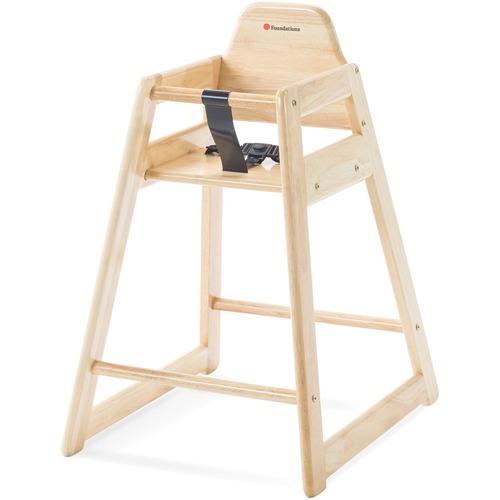 Foundations Hardwood Food-Service High Chair - Natural - Hardwood - 1 Each
