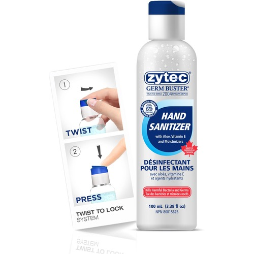 Zytec Germ Buster Sanitizing Gel - 100 mL - Flip Top Bottle Dispenser - Kill Germs, Bacteria Remover - Hand - Clear - Quick Drying - 1 Each
