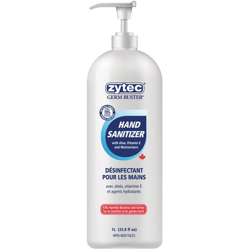 Zytec Germ Buster Sanitizing Gel - 1 L - Pump Bottle Dispenser - Kill Germs, Bacteria Remover - Hand - Clear - 1 Each