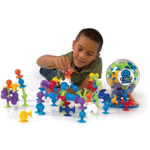 Fat Brain Toys Squigz - Skill Learning: Creativity, Construction, Fine Motor, Relaxation, Sensory Perception - 3 Year & Up - 50 Pieces