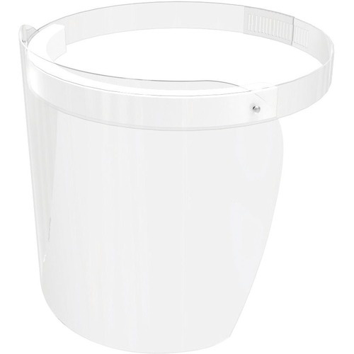Deflecto Disposable Personal Face Shield with Foam - Recommended for: Industrial, Pharmacy, Store - Disposable - Universal Size - Full Face, Fog, Influenza Virus, Respiratory Droplet Protection - Polyethylene Terephthalate (PET), Foam - Clear, White - 1 E