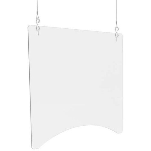 """Deflecto Hanging Safety Barrier (Square), 24"""" x 24"""" - 23.75"""" (603.25 mm) Width x 23.75"""" (603.25 mm) Height - 2 / Carton - Clear - Acrylic"""