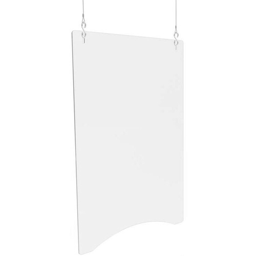 """Deflecto Hanging Safety Barrier (Portrait), 24"""" x 36"""" - 23.75"""" (603.25 mm) Width x 35.75"""" (908.05 mm) Height - 2 / Carton - Clear - Acrylic"""