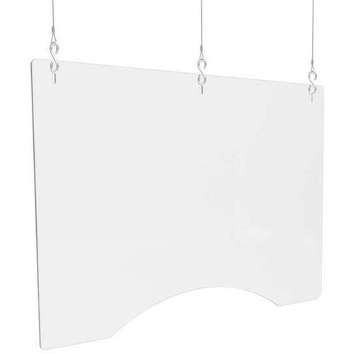 """Deflecto Hanging Safety Barrier (Landscape) 36"""" x 24"""" - 35.75"""" (908.05 mm) Width x 24"""" (609.60 mm) Height - 2 / Carton - Clear - Acrylic"""