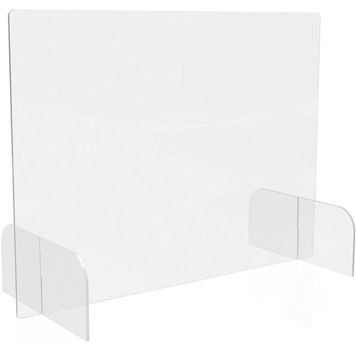 """Deflecto Countertop Safety Barrier Full Shield with Feet - 31"""" (787.40 mm) Width x 23"""" (584.20 mm) Height x 14"""" (355.60 mm) Length - 2 / Carton - Clear - Acrylic"""