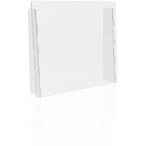 """Deflecto Countertop Safety Barrier with Full Shield - 27"""" (685.80 mm) Width x 23.75"""" (603.25 mm) Height x 6"""" (152.40 mm) Length - Clear - Polycarbonate"""