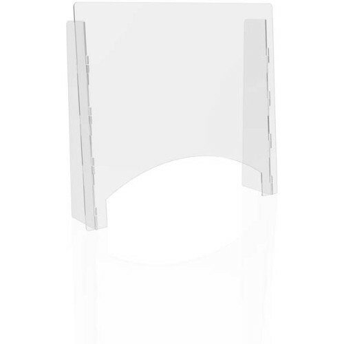 """Deflecto Countertop Safety Barrier with Pass Through - 27"""" (685.80 mm) Width x 23.75"""" (603.25 mm) Height x 6"""" (152.40 mm) Length - Clear - Polycarbonate"""