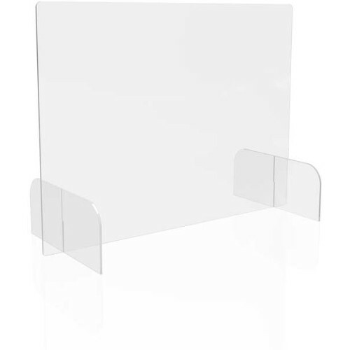 """Deflecto Countertop Safety Barrier Full Shield with Feet - 31"""" (787.40 mm) Width x 23"""" (584.20 mm) Height x 14"""" (355.60 mm) Length - Clear - Polycarbonate"""