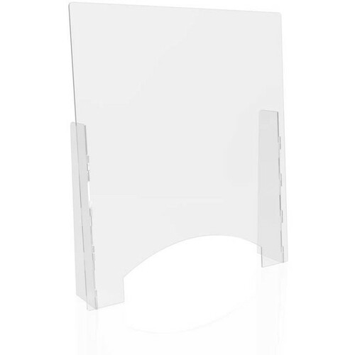 """Deflecto Counter Safety Barrier - 31.75"""" (806.45 mm) Width x 36"""" (914.40 mm) Height - Clear - Polycarbonate"""