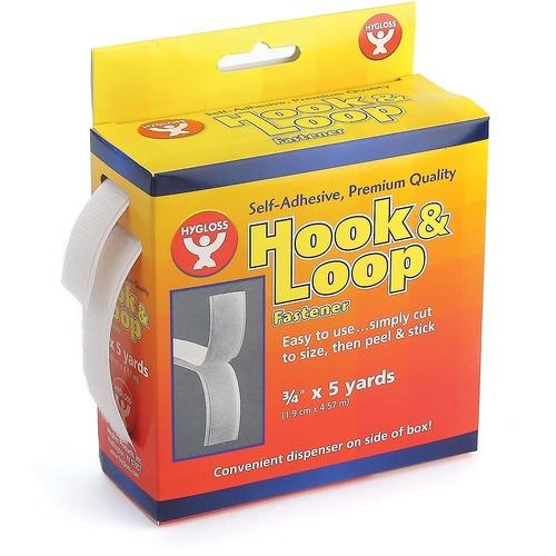"Hygloss Hook & Loop Fastener - 3/4"" x 5 yds - 15 ft (4.6 m) Length x 0.75"" (19.1 mm) Width - Dispenser Included - 1 - White"