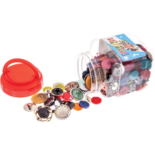 John Bead Jar - Buttons Assorted Shapes & Sizes 250g - Craft - Assorted Shapes - 1 Each - Assorted - Plastic, Lucite, Resin