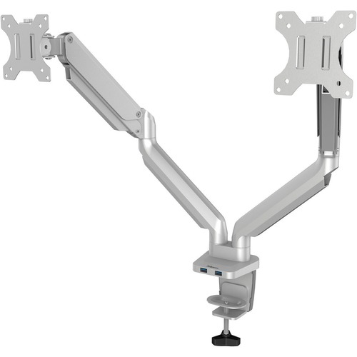 """Fellowes Platinum Mounting Arm for Monitor - Silver - 2 Display(s) Supported27"""" Screen Support - 18.14 kg Load Capacity"""