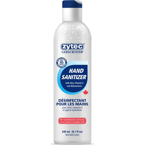 Zytec Sanitizing Gel - 240 mL - Kill Germs, Bacteria Remover - Hand - Clear