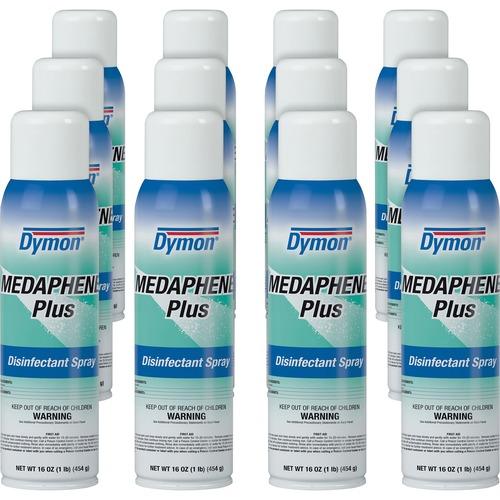 Dymon Medaphene Plus Disinfectant Spray - Aerosol - 16 fl oz (0.5 quart) - Pleasant Scent - 12 / Carton - Aqua