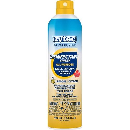 Zytec Sanitizing Spray - Lemon Scent - 400 mL - Spray Bottle Dispenser - Kill Germs - Hand, Home, Office, School, Hospital, Healthcare, Gym - Clear - Quick Drying, Residue-free - 1 Each