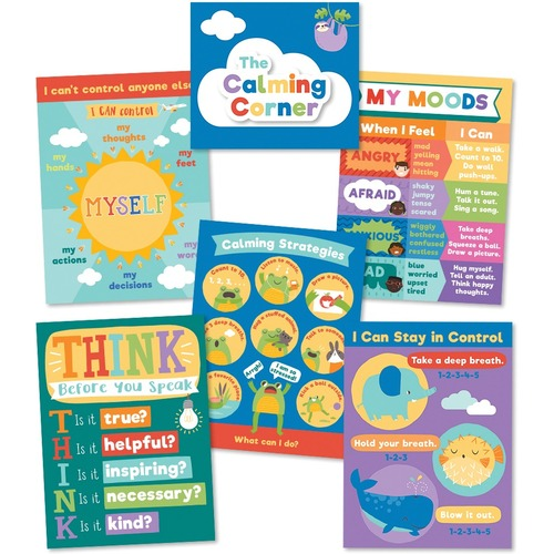 Carson Dellosa Education Calming Strategies Chart Set - Skill Learning: Creativity, Motivation, Emotion - 7 Pieces