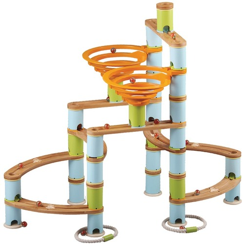 Fat Brain Toys Bamboo Builder Marble Run - Skill Learning: Building, Basic Engineering Principles, Three-dimensional Visualization Skills, Creativity, Problem Solving, STEM, Fine Motor, Spatial Visual Skill - 4 Year & Up - 168 Pieces
