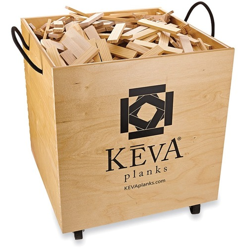 MindWare KEVA Maple Planks in Wood Roller Bin - Skill Learning: Classroom, Stacking - 5 Year & Up - 1000 Pieces