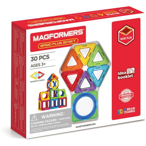 Magformers Basic Plus 30pc Set - Skill Learning: Shape, Geometry - 3 Year & Up - 30 Pieces