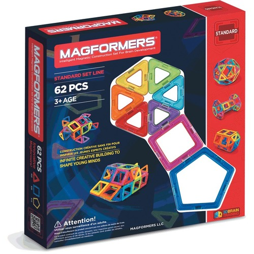Magformers Rainbow 62pc Set - Skill Learning: Shape, Geometry - 3 Year & Up - 62 Pieces