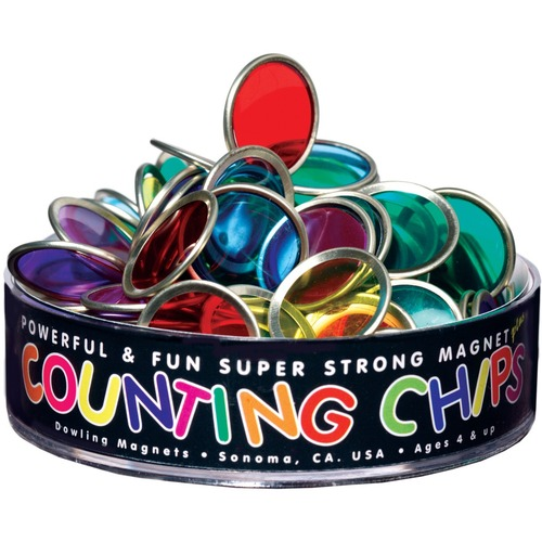 Dowling Magnets Metal-Rimmed Counting Chips & Block Magnet - Skill Learning: Counting, Sorting, Science Experiment - 76 Pieces - Assorted