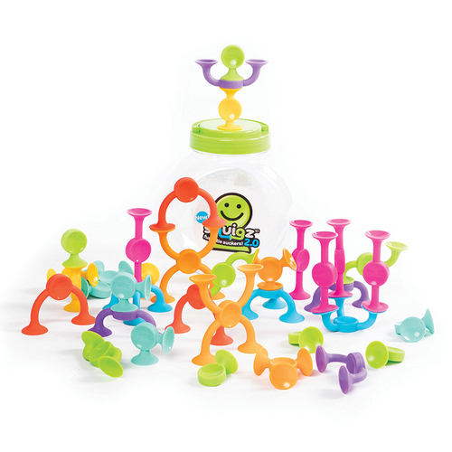 Fat Brain Toys Squigz 2.0 - Skill Learning: Creativity, Fine Motor, Spatial Reasoning, Creativity, Exploration, Science Experiment - 3 Year & Up - 36 Pieces - Green, Yellow, Pink, Light Blue, Purple, Orange, Red, Light Green