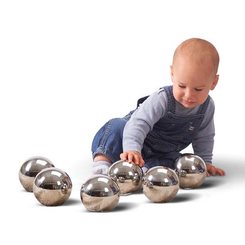 Learning Advantage TickiT Sensory Reflective Mystery Balls - Skill Learning: Sensory, Language, Observation, Sound, Eye-hand Coordination, Motor Skills - All Ages