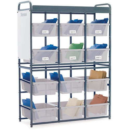 """Copernicus Storage Room Organizer for Leveled Literacy Programs with Clear Tubs - 12 Compartment(s) - Compartment Size 12.50"""" (317.50 mm) x 15.75"""" (400.05 mm) x 6"""" (152.40 mm) - 57"""" Height x 41"""" Width x 15"""" Depth"""