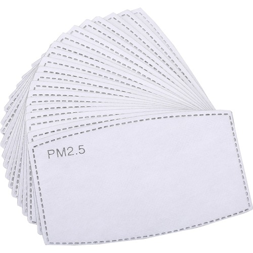 Special Buy Face Mask Disposable Filter Inserts - 40 / Box - White - Non-woven Fiber, Carbon, Fabric