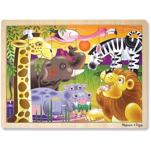 Melissa & Doug African Plains Wooden Jigsaw Puzzle - 24 Piece