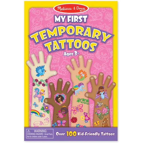 """Melissa & Doug My First Temporary Tattoo - Rainbows, Flowers, Fairies Theme/Subject - Removable - 9"""" (228.6 mm) Height x 6"""" (152.4 mm) Width x 0.13"""" (3.2 mm) Depth - Pink - 100 / Pack"""