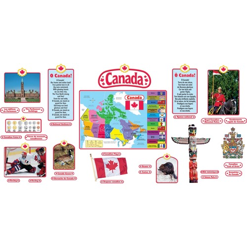 Trend Canadian Symbols (English/French) Bulletin Board Set - Canadian Flag, Coat of Arm, National Anthem, Royal Canadian Mounted Police, Hockey, Totem Pole, Canada Goose, Beaver, Canadian Coins, Parliament Buildings, Map of Canada, ... - Durable, Reusable