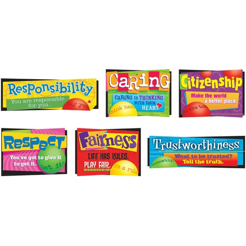 Trend Character Education Bulletin Board Set - Trustworthiness, Fairness, Caring, Responsibility, Respect, Citizenship - Durable, Reusable - 6 Piece