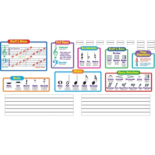 """Trend Music Symbols - Wipe-Off Bulletin Board Set - Music Theme/Subject - Music Notations, Staff & Notes, Rest, Notes, Staffs & Bars, Time Signature, Accidentals, Clef Signs - Durable, Reusable, Write on/Wipe off - 17"""" (431.8 mm) Length - 20 Piece"""