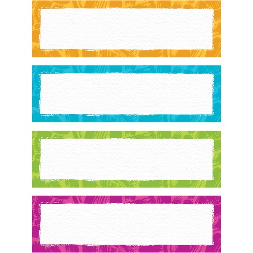 """Trend Color Harmony Paint Strokes Desk Toppers Name Plates Variety Pack - 2 7/8"""" x 9 1/2"""" Length - Rectangle - Paper - 32 / Pack"""