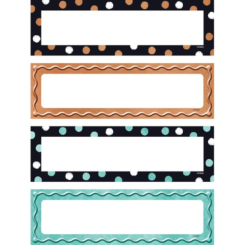 """Trend I ? Metal Dots & Embossed Desk Toppers Name Plates Variety Pack - 2 7/8"""" x 9 1/2"""" Length - Rectangle - Paper - 32 / Pack"""